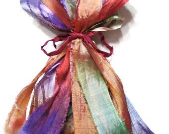 5 & 10YD. Lavender and Roses Sari Silk Bundle//Dyed Silk Sari Ribbon Bundle//Sari Tassels,Sari Wall Decor,Sari Fiber Jewelry,Sari Tapestry