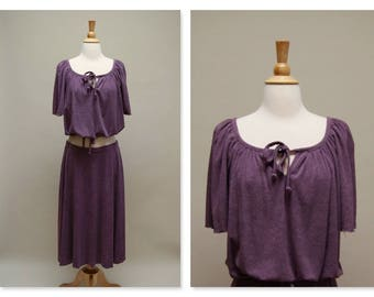 Vintage 70's Skirt Set ⎮ Terry Cloth Blouse & Skirt ⎮ Vintage Purple Sue Brett Set