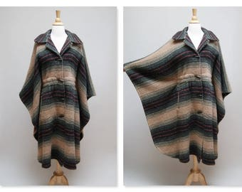 Vintage Wool Cape/Coat ⎮ 1980s Southwestern Poncho ⎮ Vintage Boho Beige Orange Green Black Coat