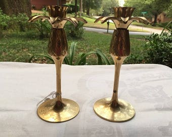 Vintage Brass Candleholders - 2 Matching