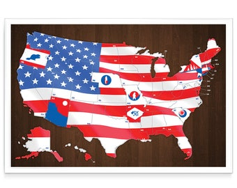 FULL COLOR U.S. Scratch Off Travel Map - Flag Icon Edition