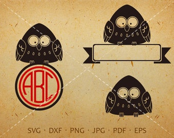 Owl SVG, Owl Monogram SVG with circle font, Owl Baby Clipart Shirt SVG Silhouette Cricut Cut Files Commercial and Personal Use