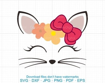 Cat Face SVG,  Cat SVG, Kitty SVG, bowknot kitty birthday svg Silhouette Cricut Cut Files  (svg, dxf, eps, png, jpg, pdf)