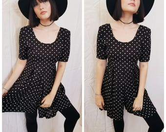 Vintage 90s Polka Dot Romper Jumper Playsuit Black and White All That Jazz Size Small
