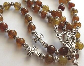 Yellow Agate Rosary, Gemstone Rosary, Madonna Rosary, Catholic Rosary, 5 Decade Rosary