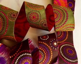 "7/8"" (23 mm) multicolor concentric circles jacquard ribbon"