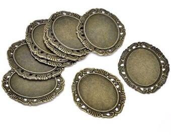 5 cabochons filigree oval connectors bronze 53 x 44 mm
