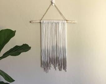 Medium dip dyed yarn tapestry, wall hanging on white birchwood. Boho wall art.