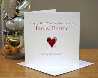 Personalised Ruby 40th Anniversary Card