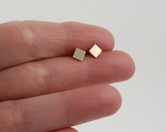 Gold square studs | Square earrings | Gold stud earrings | Minimalist earrings | Dainty square studs | Gold earrings | Small gold earrings