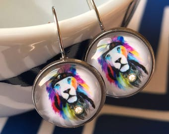 Handmade lion glass cabochon earrings - 16mm