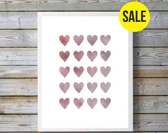 Pink and grey, gray,watercolor heart,hearts, nursery art, nursery decor,nursery girl, nursery pink, nursery watercolor, nursery hearts, Love