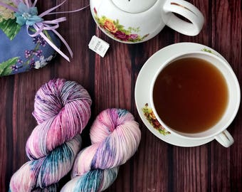 Hand Dyed Yarn, Fingering Weight Yarn, Sock Yarn, Indie Dyed Yarn - Raspberry Cheesecake on Simple Sock