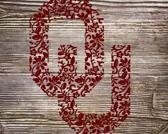 Oklahoma OU Patterned Floral Flower SVG Digital Cut File
