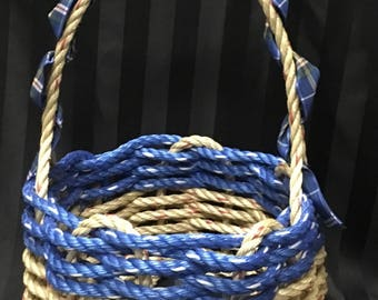 Handwoven Rope Basket  Nova Scotian Tartan Handle