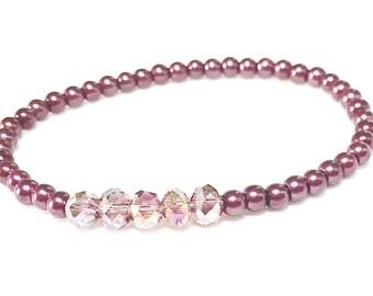 Burgundy Bliss~ Handmade Beaded Stretch Bracelet~Glass aPearls & Swarovski Crystal Rondelles~ Adjustable~ Arm Candy~ Arm Party