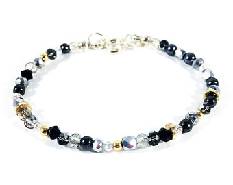 Silver Gold Sparkle~Handmade Bracelet~Black~Smoke~Clear Swarovski Crystals~Silverplate Clasp~Gold plated Heishi Beads~Silverplate findings