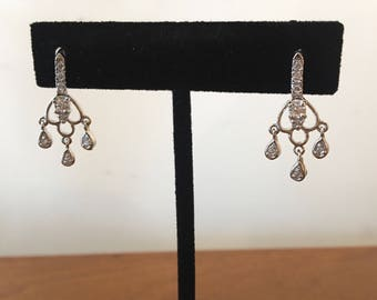 Vintage Rhinestone Sterling Silver Costume Chandelier Earrings Free Shipping in US