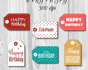 6 Printable Happy Birthday Labels, Happy Birthday Gift Tags, Birthday sticker, Instant download, DIY, Holiday tag, Favors tag, Favors labels