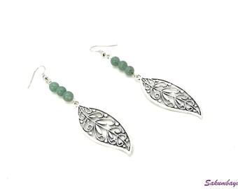 Earrings, leaf, adventurine, beads, natural stone, gemstone, green