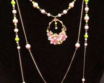 Pink, Green, and Gold Multi-Strand Interchangeable Necklace, 3 Necklaces in 1, Multi-Strand Beaded Necklace, Multi-Strand Necklace