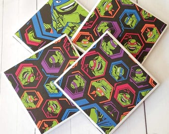 TMNT Coasters - Drink Coasters - Gifts for Him - Ceramic Coasters - TMNT Decor - TMNT Party - Tile Coasters - Ceramic Tile Coasters