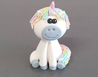 1 x 3D Unicorn Cake Topper, Fondant Unicorn, Edible Unicorn, cake decorations