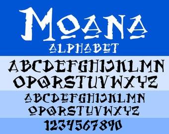 Moana font SVG TTF, Moana svg, Moana alphabet svg, svg files, dxf, cricut, silhouette cutting file, instant download
