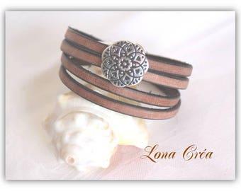 Bracelet leather Beige Vintage 2 towers
