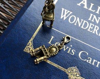 Alice in Wonderland inspired charm/stitch marker
