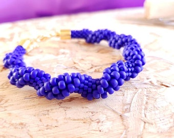 Crochet bracelet blue wave