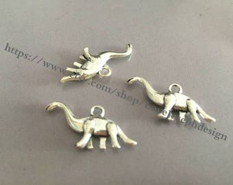 wholesale 100 Pieces /Lot Antique Silver Plated 12mmx27mm dinosaur charms (#032)