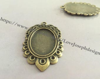 10Pieces /Lot Antique Bronze Plated 18mmx25mm cabochon trays charms (#0295)