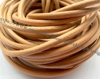 wholesale 100meters 4mm Black & Natural Brown and Brown round genuine/real leather cords(#0490)