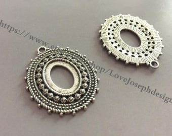 wholesale 100 Pieces /Lot Antique Silver Plated 26mmx36mm Oval bezel pendant Charms (#0918)