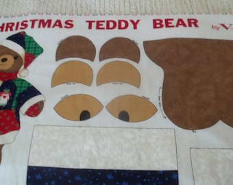 Christmas Teddy Bear Fabric Panel
