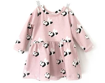 FLYING PANDA - baby and toddler dress - dusty pink baby dress - Petit Bandit