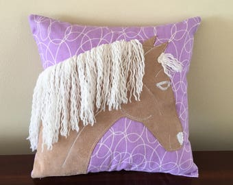 Child's Horse Pillow, Purple Throw Pillow, Horse Head Pillow with White Yarn Mane, Appliqued Horse Pillow