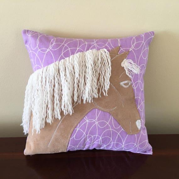 Child S Horse Pillow Purple Throw Pillow Horse Head