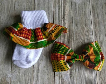 African print ruffle sock set, Kente' cloth socks, church socks, Kente' hair bow set, baby ruffle socks, Kwanzaa socks, Ankara socks