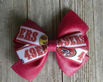 San Francisco 49ers hair bow, football hair bow, 49ers baby headband, 49ers hair bow, Super Bowl hair bow, crimson and gold, NFL hair bow
