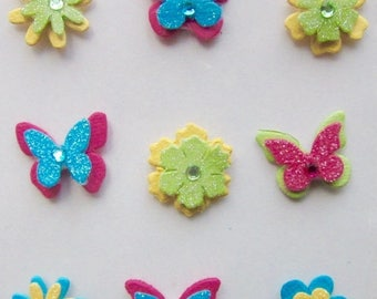 Solde -5% BUTTERFLIES AND FLOWERS - Hand made in India