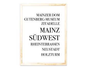 Poster, Mainz, Städteprint, city