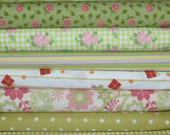 Set of 7 coupons fabric patchwork Cotton sewing 30 X 50 cm green 0715