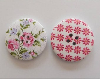 2 round buttons, sewing, scrapbooking, 4 cm pink flower