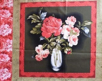 Fabric patchwork/decorating 1 tile VASE of flowers
