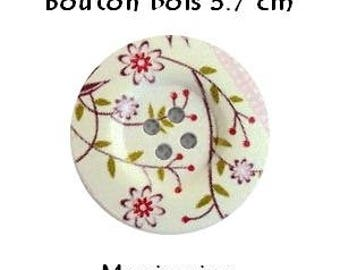 2 buttons wood/sewing/scrapbooking 3.7 cm Flower Pink/cream