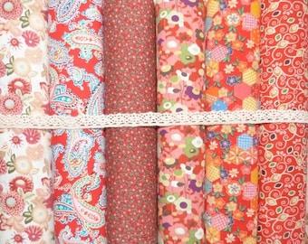 Set of 6 coupons patchwork fabric cotton seam 45 x 50 cm 3107 red tones