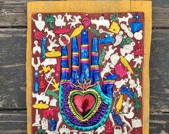 Sacred Heart Milagro-Mexican Tin Hand-Milagros-Folk Art-Shrine Altar- Sacred Space Meditation Room
