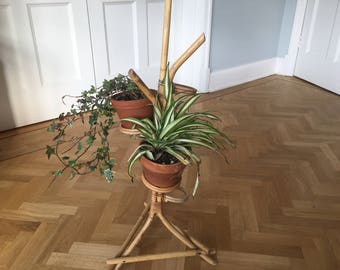 Rare 1950s Bamboo Plant Stand Mid Century Hollywood Regency